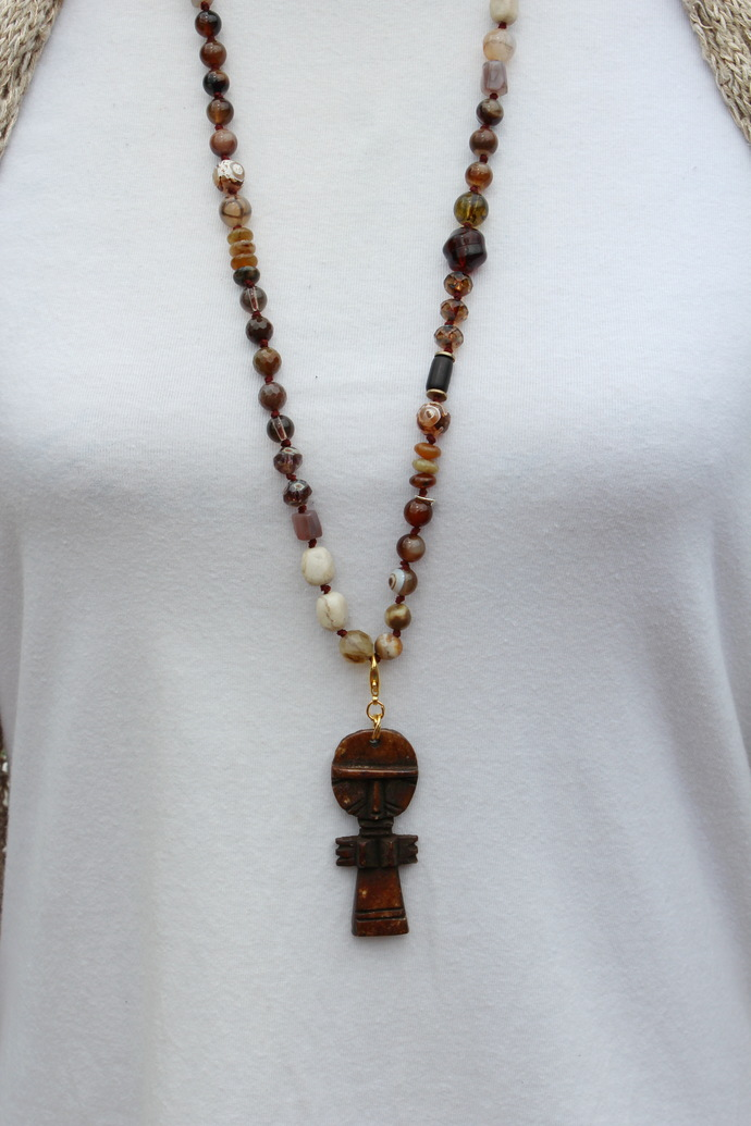 Captivating & Unique, Brown, Hand Knot, Long Beaded Necklace, with Ashanti doll