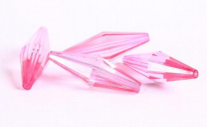 Long faceted bicone light pink acrylic resin beads 36x12mm 4pc (339)