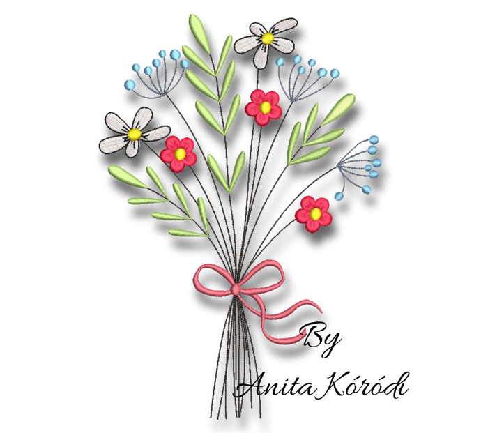 Meadow Flowers Embroidery Machine Design bloom digital instant download pattern
