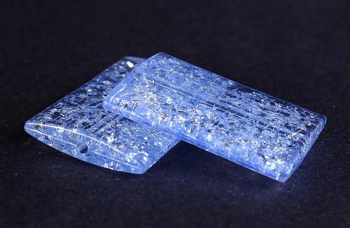 Baby blue sapphire crackle rectangle transparent acrylic resin beads 2pc 38x27mm