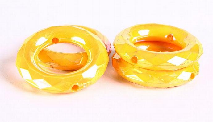 4pc 35mm yellow canari AB faceted rondelle acrylic resin beads (293)