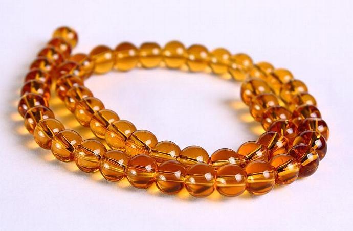 Yellow topaz round glass bead 6mm 50pc (289)