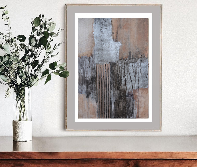 Origina abstract, contemporary art, modern art, A3 original abstract, beige gray