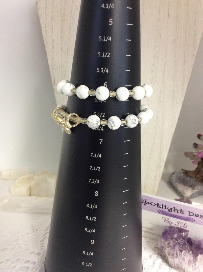 Howlite  Cross Stretch Bracelet