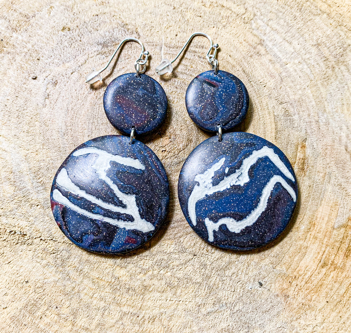 Galaxy Dangle Earrings with Veins of Stars Streaming Across the Surface