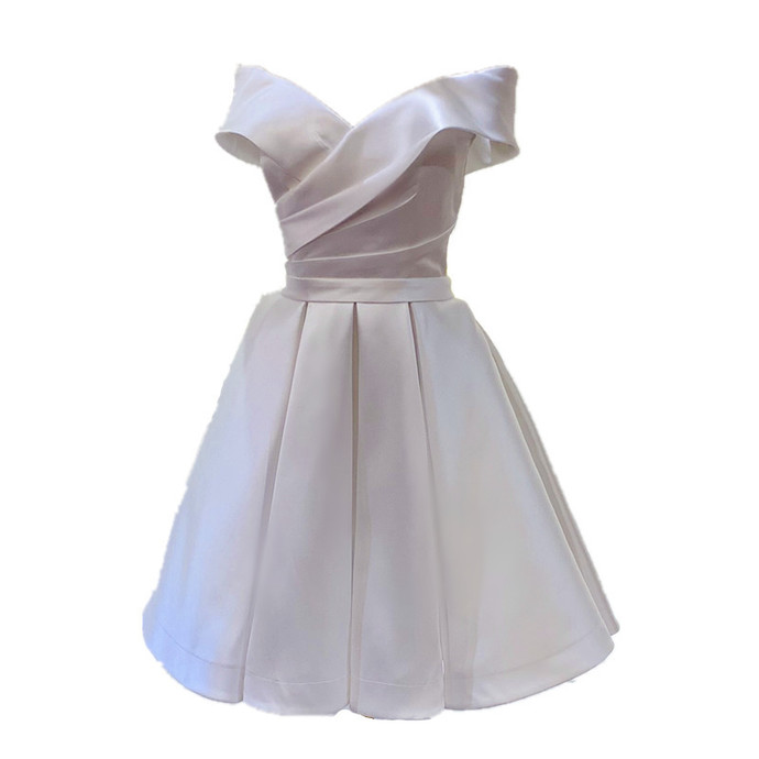 Beautiful White Satin Homecoming Dress, White Bridesmaid Dress Short Prom Dress