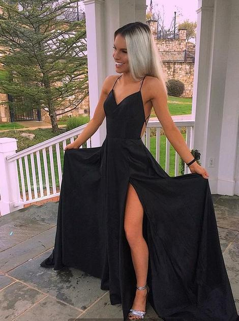 Black Chiffon Slit Backless Long Prom Dress, Black Fashionable Party Dress