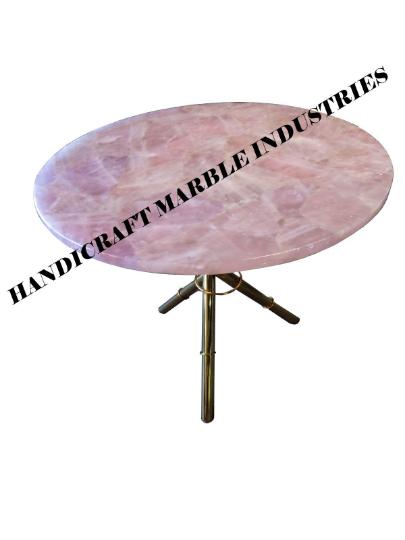 Rose Quartz Table Top, Pink Rose Quartz Stone Table, Rose Quartz Side Table,