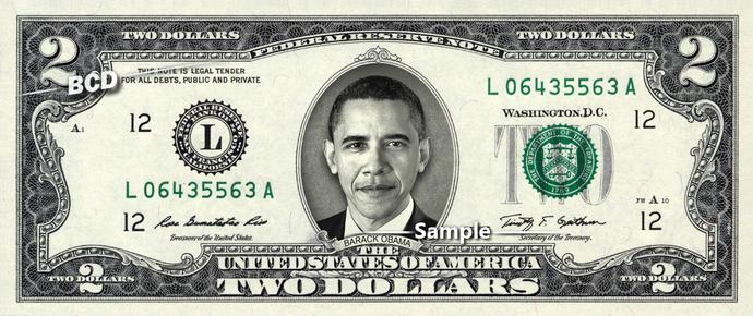 BARACK OBAMA on REAL TWO Dollar Bill Cash Money Memorabilia Collectible