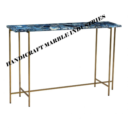 Blue Agate Table Top Rectangle Table, Blue Agate Table, Agate Stone Table Home