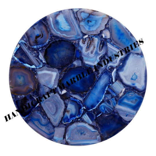 """18"""" Inch Blue Agate Round Table Top , Blue Agate Table, Round Blue Agate Table,"""