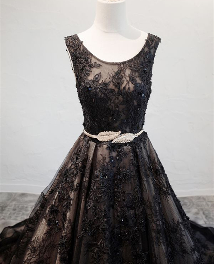 Black Lace Backless Long Evening Gown, Elegant Lace Party Dress