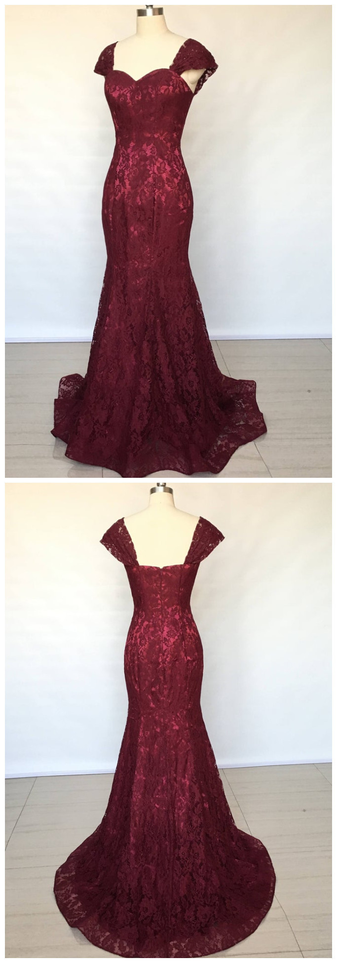 Beautiful Mermaid Sweetheart Burgundy Lace Long Bridesmaid Dress, Lace Prom