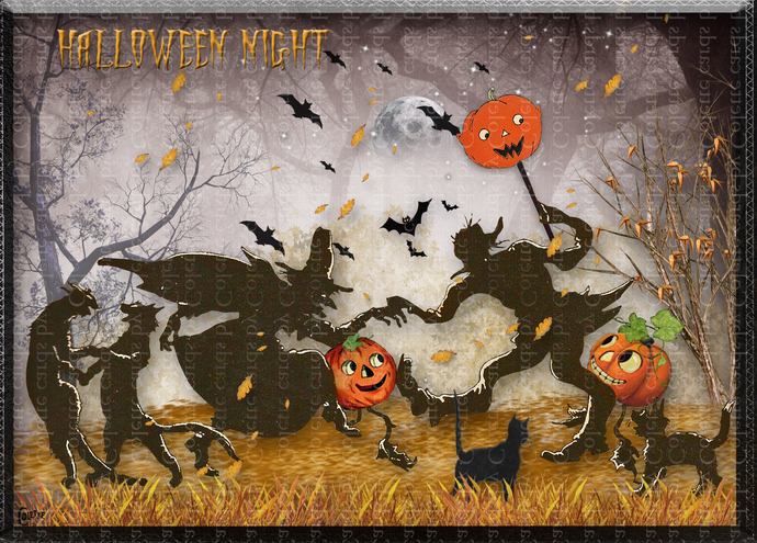 What Happens Halloween Night Digital Collage Greeting Card2795