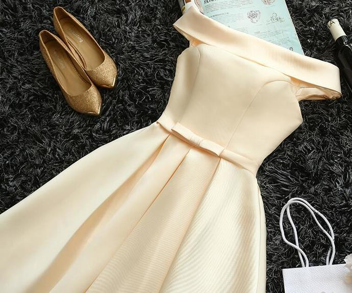 Lovely Satin Simple Off Shoulder Prom Dress, Champagne Party Dress 2021