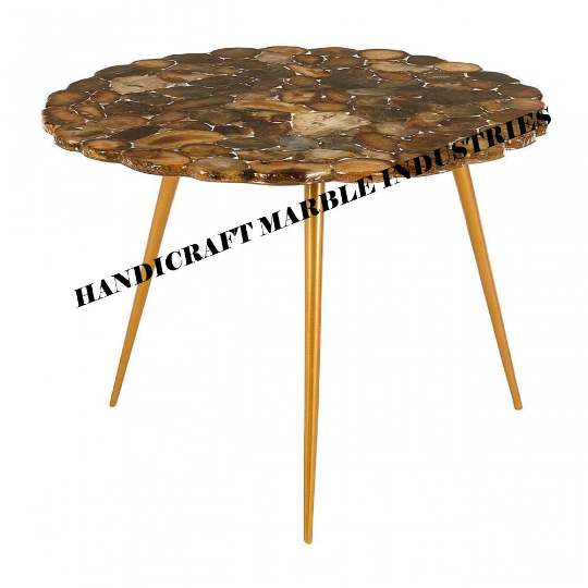Brown Agate Table Top, Natural Agate Table, Brown Agate Table, Flower Shape