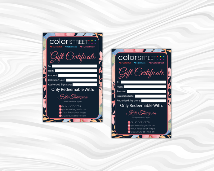 Floral Personalized Color Street Gift Cards, Color Street Active Digital File
