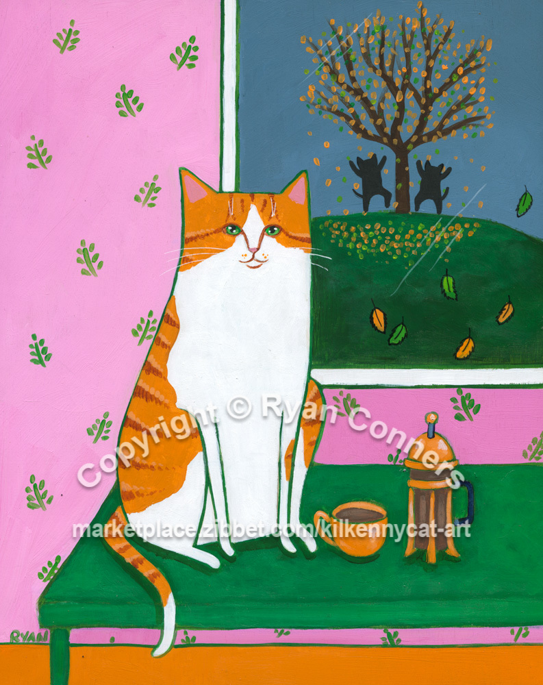 Watching the Leaves Fall Autumn Original Whimsical Cat Folk Art Painting
