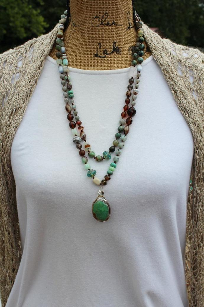 Bohemian Rapsody Long Double Wrap Gemstone Necklace with Chrysoprase Pendant by