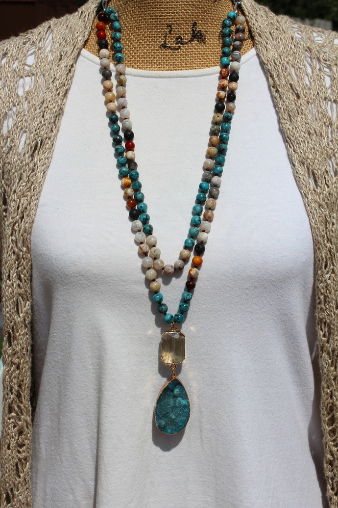 Long Beaded Necklace, with Druzy Pendant, Hand Knot jewelry, by KnottedUp