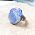 Tiki Collection, Polymer Clay and Resin Statement Ring, Blue and Silver Abstract