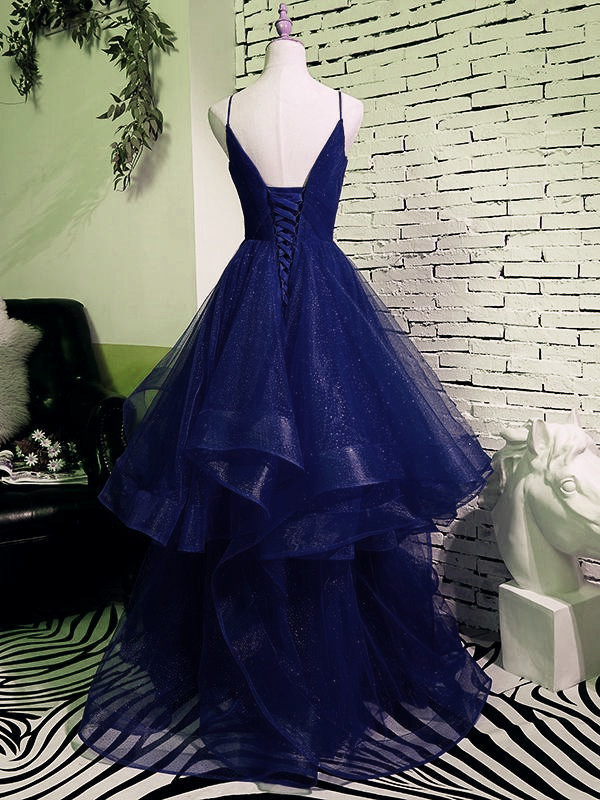 Fashionable Navy Blue Long Party Dress, A-line Tulle Prom Dresses