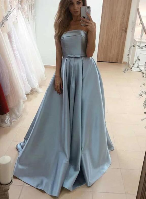 Fashionable Strapless Blue Satin Long Prom Dresses with Bow, Beautiful Satin