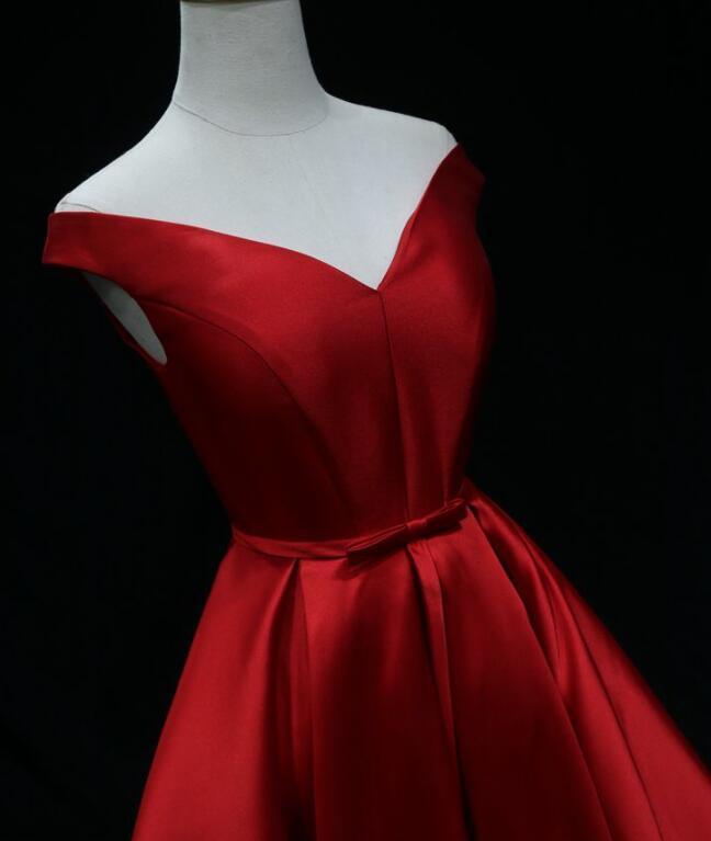 Red Satin Long Simple Evening Dress, Off Shoulder Floor Length Prom Dress