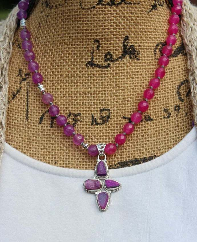 Beaded Statement Necklace, with Druzy Pendant, Hand Knot by KnottedUp, Lavender