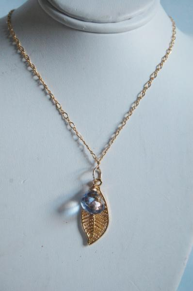 Blue Mystic Quartz and leaf charm Necklace