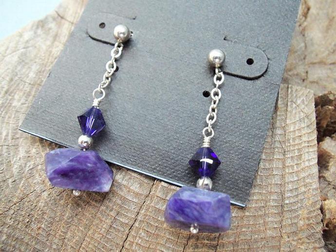Beautiful Deep Purple Charoite and Swarovski Crystal Earrings