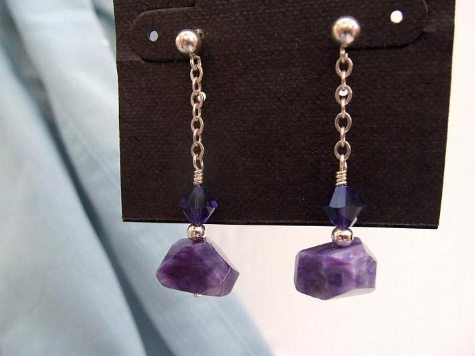 Beautiful Deep Purple Charoite and Swarovski Crystal Earrings