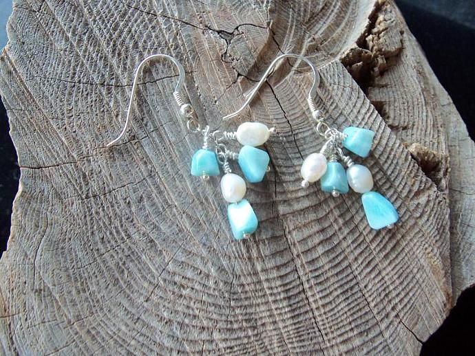 Larimar and Freshwater pearls Sterling Silver Earrings
