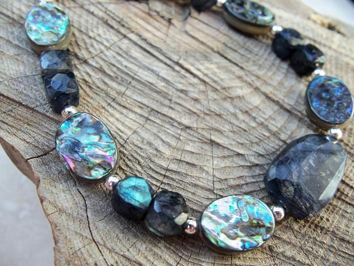 Blue flashy Labradorite and Abalone Sterling Silver Bracelet