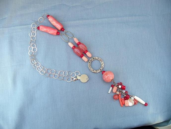 Stunning Pink Coral and Cherry Quartz Necklace