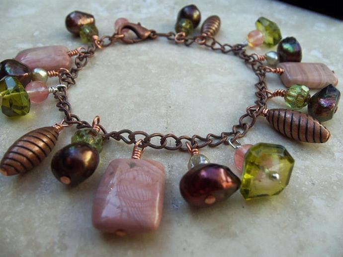 Peridots Quartz and Pearls of Autumn Colors  Bracelet