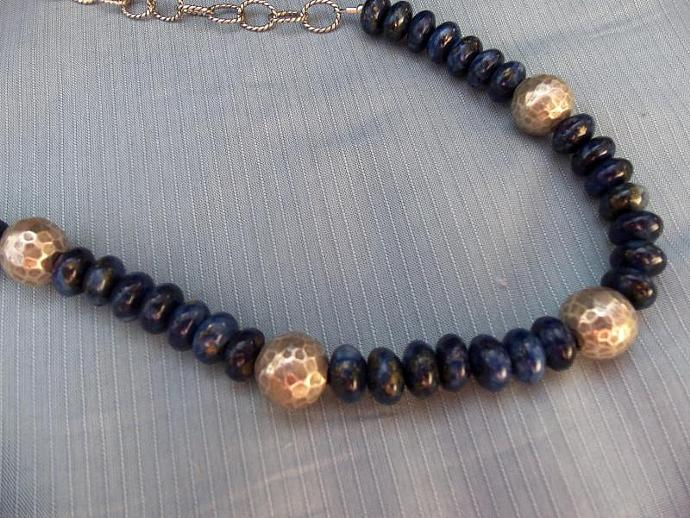 Beautiful Deep Blue Lapis Lazuli and Sterling Chain Necklace