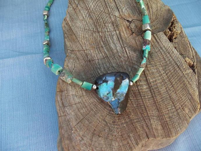 Unique Australian Boulder Opal and Turquoise Necklace