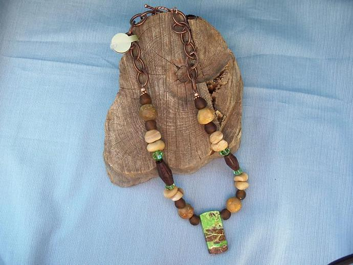 Beautiful Gaspeite Pendant Necklace with African Glass and Copper Chain