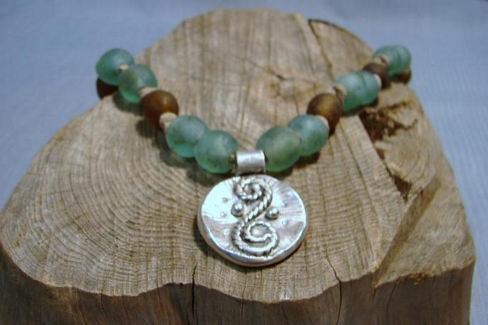 Unique Ancient Glass Necklace with Artisan Rope Swirl Fine Silver Pendant