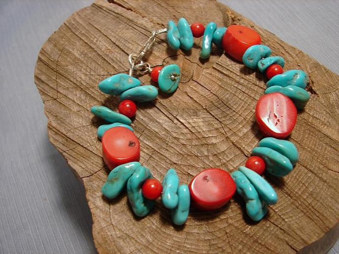 Bold Turquoise and Coral Bracelet