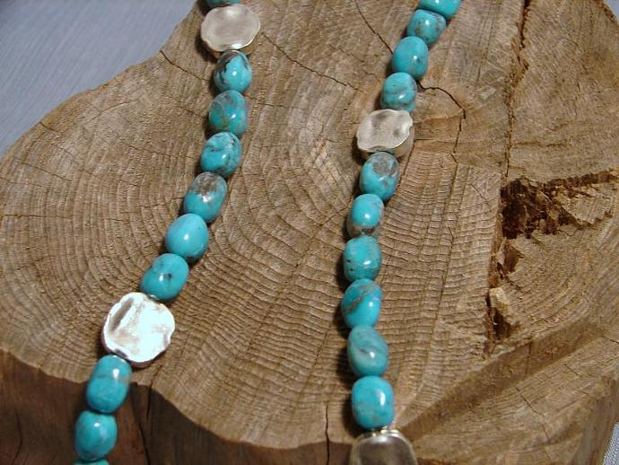 Turquoise Necklace with Heart XOX Fine Silver Pendant