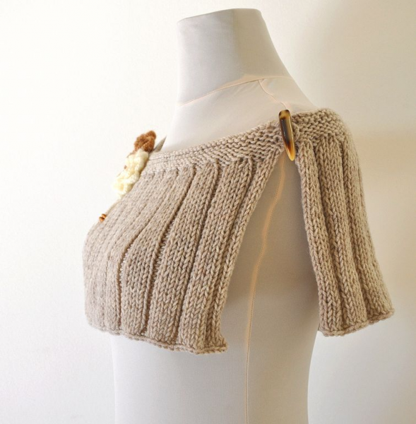 Light Brown Knit Capelet - Gift For Her