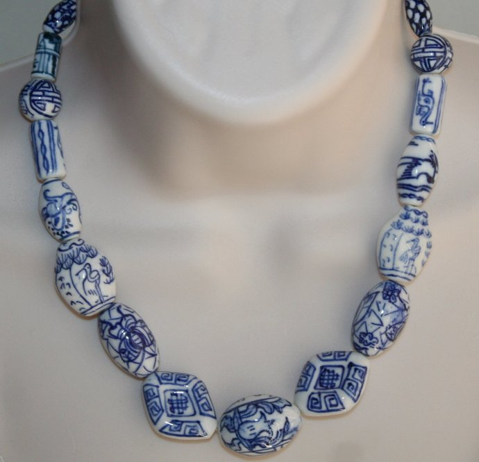 Blue and White Ceramic Bead Necklace, Porcelain Bead Silver Chain Necklace