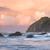 Dawn pastel colors at the Pacific Ocean, at Bandon Beach, Oregon. Wall art shows