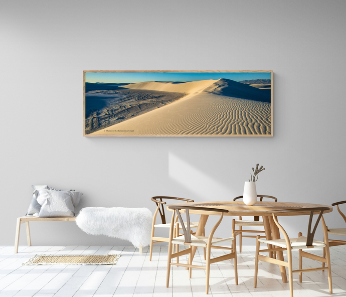 Endless sand dunes at White Sands National Park, New Mexico.   Panoramic shows