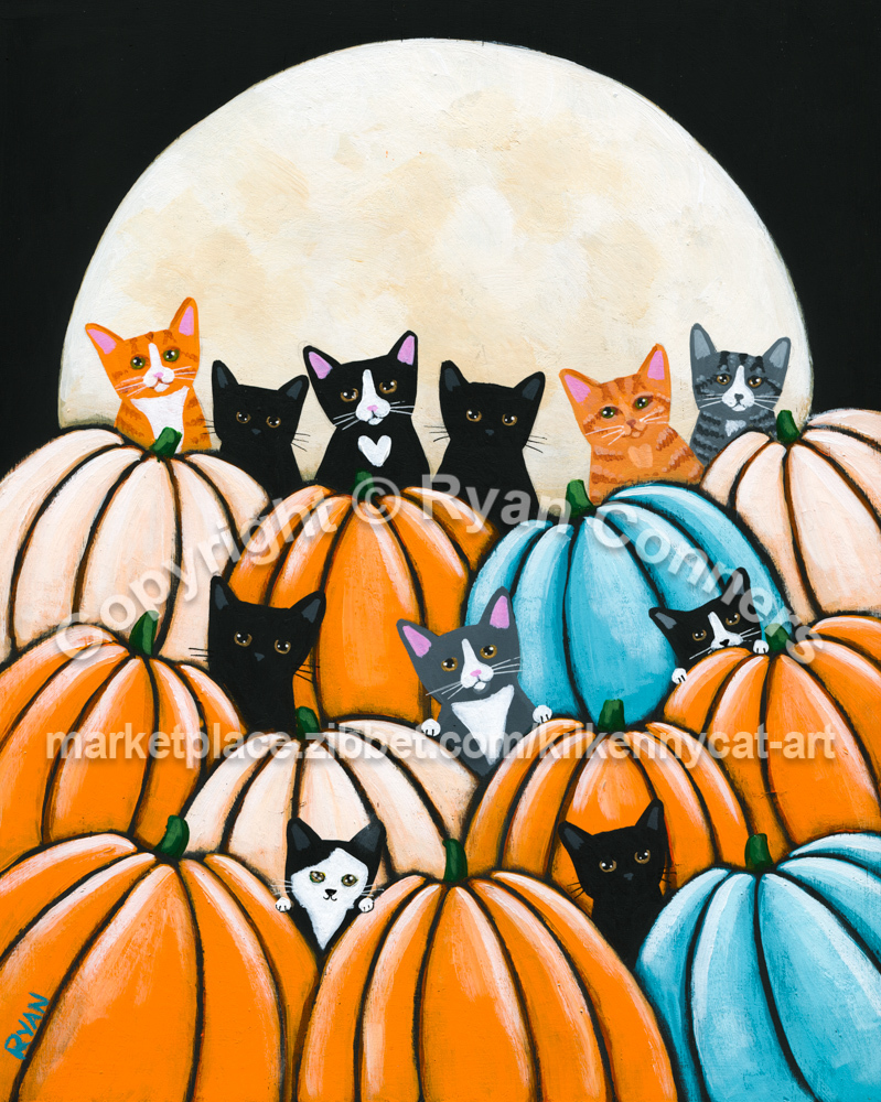 Cats in the Pumpkin Patch Original Whimsical Cat Folk Art Painting