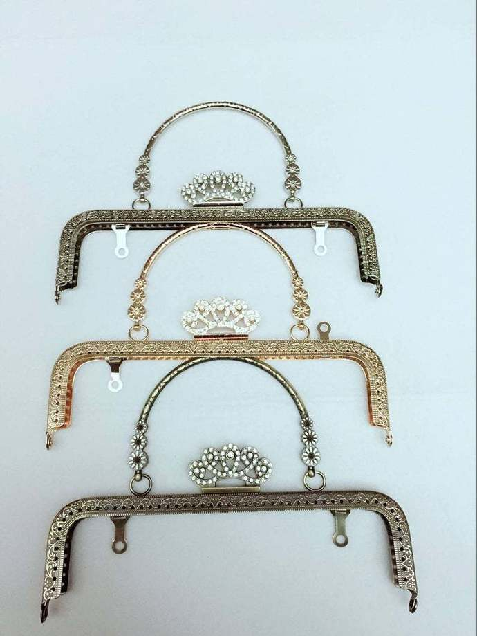 8 inch(20.5cm)clutch frame sewing metal crown purse frame with handle purse