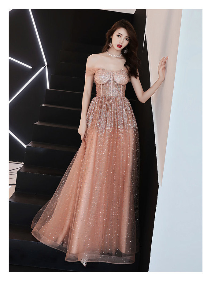 Beautiful Long Sequins Off Shoulder Sweetheart Party Dress, A-line Prom Dress