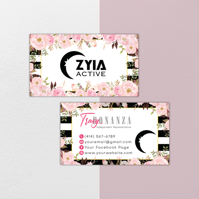Floral Personalized Zyia Active Business Cards, Zyia Active Digital file card,
